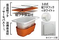 """お湯が冷めにくい、浴槽保温材と保温組フタの""""ダブル保温""""構造。お湯が冷めにくく湯温を長時間保つので、無駄な追焚き等を抑制できます。"""