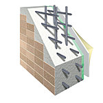 建物全体を包む外壁はコンクリートとし、耐久性のあるタイル(一部吹付タイル)と断熱材で、快適性を高めています。※外壁構造概念図