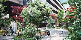 敷地内のオアシスとして四季を感じる小公園を設けました。見通しも良く気軽に利用できます。