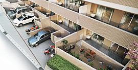 専用庭付き・専用駐車場付き1階住戸。
