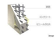鉄筋を格子状に組み上げる工程において、鉄筋を二重に組むダブル配筋とし、耐久性を高めています。