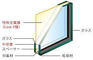住戸内の開口部(一部除く)には、ガラスの中空層側に特殊金属膜(Low-E膜)をコーティングした「Low-E複層ガラス」を採用。※3