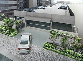 広大な敷地形状を活かして入出庫がスムーズなリングシャッター付自走式立体駐車場を設置しました。また、洗車スペースを設けることで、日々のカーライフをより快適にサポートします。