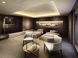 洗練のインテリアでおもてなしの心を伝えるゲストルームを、見晴らしのよい高層階・21階にご用意しています。ご親族やお客様が来訪された際に重宝。※ゲストルームのご利用は有料となります。