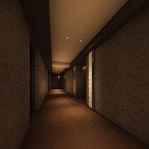各階のエレベーターホールにしつらえた日本の伝統色による「波紋」との繋がりで、光源による水の誘いを表現しています。