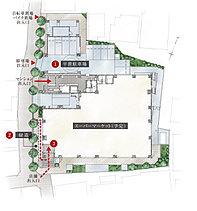 【1】スムーズな出入りに配慮した平置駐車場。【2】ブロック敷きの歩道と植栽帯により、美しい緑道を創出。【3】落ち着いた住環境が保たれるように配慮した動線計画。