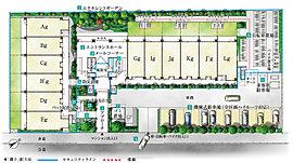 住みやすさにこだわりを尽くした、敷地配置計画。総戸数99戸ならではの充実の共用空間をはじめ、万が一のための防災設備や、壮大な建物を彩る植栽計画など、住みやすさにこだわったランドスケープです。
