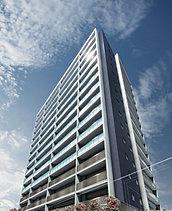 44m超のタワーレジデンスは、低層住宅の中に誕生致しました。 空に伸びるすっきりとした外観は、周囲のランドマークとなるデザイン性を備えています。