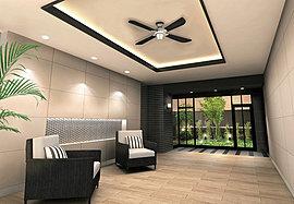 上質なプライベート空間へ誘うエントランス&ホール。潤いの木々を配し、奥行き感のある構えを持ったアプローチ。ブラック&ベージュを基調とした意匠で落ち着きある空間を演出するホール。