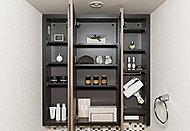 三面鏡裏に小物や化粧品を収納できるスペースを確保。化粧品などをすっきりと収納できます。