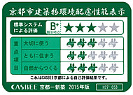 「パデシオン京都七条ミッドパーク」は京都市の建築物環境配慮性能表示「CASBEE京都」の総合評価★★★を取得しています。