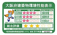 大阪府の3つの重点項目に対する取り組み度合いと、CASBEEによる建築物の環境性能の総合評価を各5段階で評価しています。