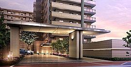 敷地北側道路からのアプローチにはゲートを設けて総120戸の邸宅としての存在感のある構えを演出。味わい深い素材と上質感で、住まう人の豊かな暮らしとステータスを醸し出します。
