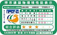 建築主が堺市に提出する建築物環境計画書で、堺市重点項目に対する取り組み度合いを桜の花びらの数、総合評価を星の数で表したものです。