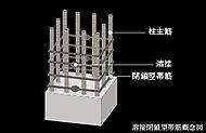 柱帯筋には、あらかじめ工場で帯筋として継ぎ目を溶接した溶接閉鎖型を採用。強度と耐久性を高めています。
