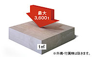1m2あたり最大3,600トン(最小2,400トン)の圧縮に耐える最大36N/mm2(最小24N/mm2)の高い強度を持つコンクリートを採用