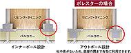 柱、梁をバルコニー側に押し出すアウトポール設計。※アウトポール設計の採用は、メインバルコニー側のみとなります。