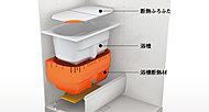 浴槽を断熱材で包み込み保温効果を高めた魔法びん浴槽を採用。4時間後の温度低下は約2.5℃。追い焚きも少なく経済的です。