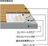 足元から暖める温水式床暖房をリビング・ダイニングに設置。クリーンで安全、乾燥しすぎず肌にもやさしいなど、多くの長所があります。