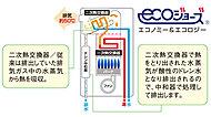 排気熱・潜熱回収システムにより、これまで未利用だった排熱を活用し給湯効率を向上させています。