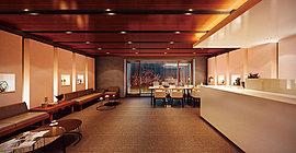 交流と寛ぎの空間、オーナーズラウンジ。ホールの奥にはキッチンスペースを完備したオーナーズラウンジを設けました。入居者同士の語らいやゲストとのご歓談にお使いいただける、ホテルライクな空間です。