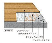 床面からのふく射熱で、足元から暖める温水式床暖房を、リビング・ダイニングに設置。※リビング・ダイニングのみの仕様となります。