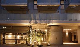 エントランスを入った先には、約20mの奥行きと天井高約3mの高さを持つエントランスホールが広がります。外からも光が差し込み、植栽の潤いが目を愉しませてくれます。