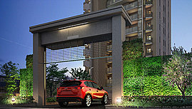 駐車場の出入口に設置した電動昇降式シャッターゲートは、車のETCシステムと連動し自動で開き、通過後に自動的に閉まります。セキュリティを高めながら、壁面緑化により、通りを歩く方にも潤いと鮮やかな印象を与えます。