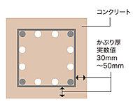 鉄筋を包むコンクリートの厚さ(かぶり厚)を、30~50mmと厚めにとり、鉄筋を保護することで建物の耐久性を高めています。※概念図