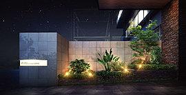 """都心ホテルの洗練を思わせる""""アーバン・リゾート""""な世界観を創り上げたエントランスアプローチ。"""