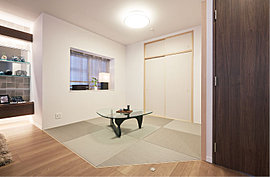 日本の伝統が息づく和室を、現代風のモダンなイメージで表現。寛ぎと癒しのスペースとして、また客間、書斎、趣味のスペースとして多目的に活用できます。