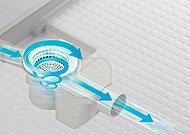 浴槽のお湯を排水する時に、排水口内にうずを発生させて毛髪やヌメリなどをキレイに洗浄。