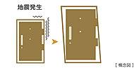 玄関ドアと枠の間のすき間を大きめにすることで地震時に枠が歪んでもドアが固着するのを防ぎます。万が一大きな地震が起こった場合の避難経路を確保。