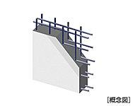 地震時に建物にかかる水平力が作用する耐震壁に、よりねばり強さを発揮する二列配列のダブル配筋を採用しています。