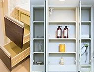 鏡裏の収納スペースやカウンター下キャビネット内引き出しなど使い勝手のよい豊富な収納スペースを確保。また便利なドライヤーフックも付いています。