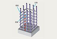 コンクリートの拘束性を高める帯筋に、粘り強い溶接閉鎖型フープを採用し、地震時の主筋の座屈を防止します。