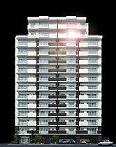 歴史の風情と都心の景観に調和する、全邸南向きのレジデンス。白と黒のツートンカラーで構成された和モダンな外観デザインは、佐賀城の印象に調和しながら、都心の景観にスタイリッシュな存在感を主張します。