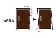 地震で玄関のフレームが変形しても、玄関ドアが開く対震ドア枠を採用。万一の住戸内への閉じ込めを防ぎます。