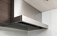 吸い込み口を狭くして吸気パワーを高めたホーロー整流板付レンジフード。整流板は取り外して簡単に洗えるので、いつでも清潔に保てます。(標準)
