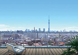開放的な空と向き合うレジデンス。広々とした空を楽しめる、全邸南向きの住まい。ガラス手摺りの透明感が、窓からの視界や陽当たりを迎え入れ、開放感溢れる住み心地を実現します。