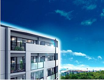 〈外観完成予想CG〉掲載の眺望写真は、現地約21m地点(7階相当)から東方向を撮影(平成27年9月撮影)したものに、外観完成予想CGを合成したものです。※1