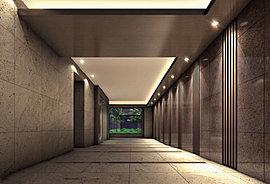 エントランスホールは、品格ある石貼りの壁面と木調ルーバーが凛とした気品ある空間を演出します。また、窓越しに見える植栽の多彩な表情と調和することで、ゆったりと落ち着いた雰囲気を醸し出します。