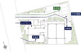 お子様や高齢者のいるご家族に配慮し、エントランスと駐車場スペースのアプローチを分け、歩行者の安全を第一に考えた動線設計となっております。また、エントランスから道路がしっかりと確認できるように植栽配置を配慮しました。