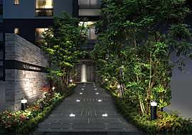 緑のゲートに迎えられる、エントランスアプローチ。都心の中心地にありながらも、心からくつろげる住まいであるために。左右に植栽とスタイリッシュな六方石を設け、まるで緑のゲートをくぐるようなアプローチが誕生。訪れる方々の心を解きほぐします。