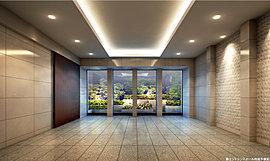 住まう方を優しく迎え入れる、品格のエントランス。建物の顔となるエントランスは、街並と調和する建築デザインを実現するために、ファサードを構成する素材や色彩も丹念に選出。扉前に配した高木の植栽がゲートのように住まう方を優しく迎え入れます。