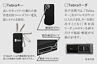 便利な4つのポイント。ハンズフリーで解錠。キー収納型。持ち運びに便利。リモコンボタンでも操作可能。
