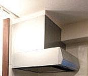調理中でもクリーンな空気を保つレンジフードは、高性能。デザイン性にも優れています。※W900mm、シルバー他