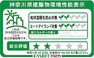 建築主が神奈川県に提出する建築物環境計画の取組状況に基づき、重点項目への取り組み度合いと建築物の環境性能を5段階で総合評価されます。