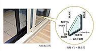 二重サッシを設けて断熱性、遮音性に配慮しています。二重サッシ内側にある樹脂サッシは複層ガラスを採用し、断熱性に優れ結露の発生も抑えます。