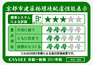 建築物の環境配慮に関する条令に基づき、「ザ・京都レジデンス岡崎 神宮」の環境配慮に対する取り組みの評価を表示しています。